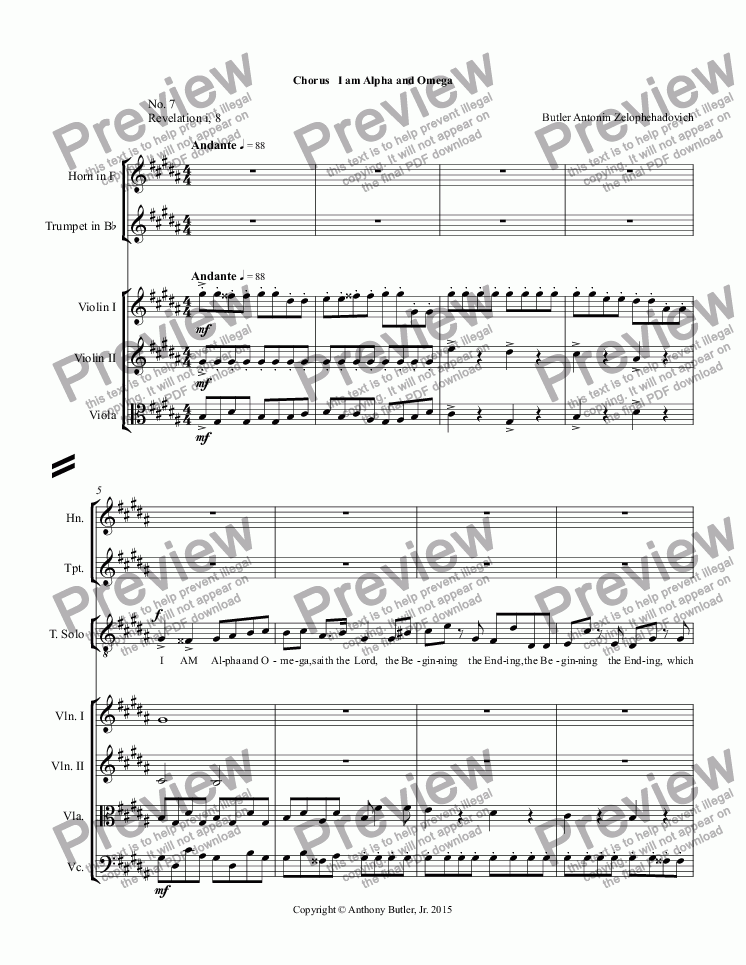 page one of Chorus   I am Alpha and Omega