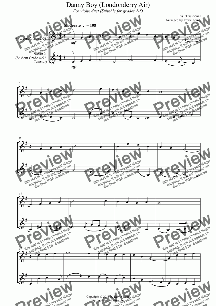 page one of Danny Boy (Londonderry Air) (for violin duet, suitable for grades 2-5) (152VNDU01)