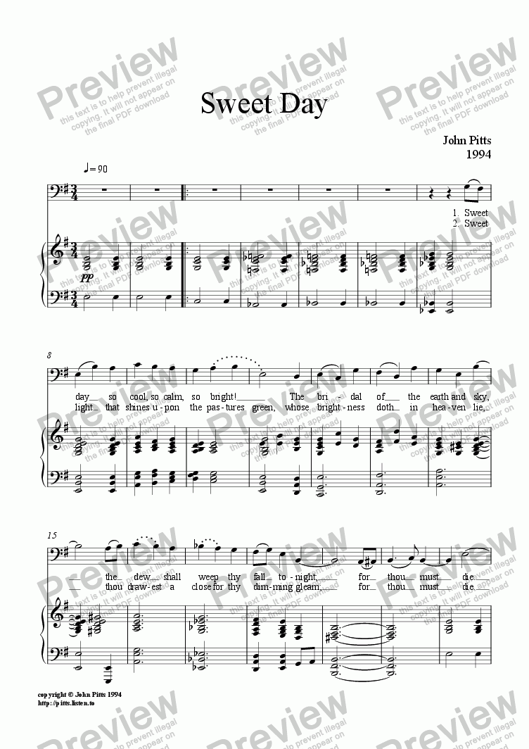 page one of Sweet Day (voice & piano) [1994]