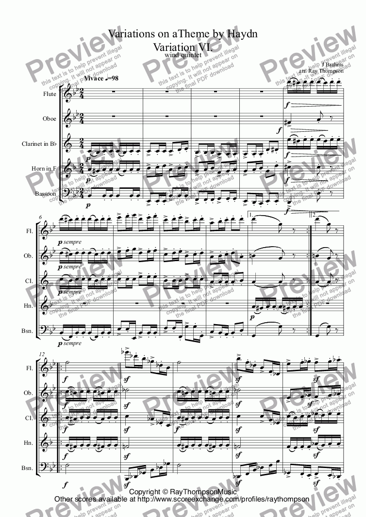 page one of Brahms: Variations on a Theme by Haydn Variation VI. arr. wind quintet