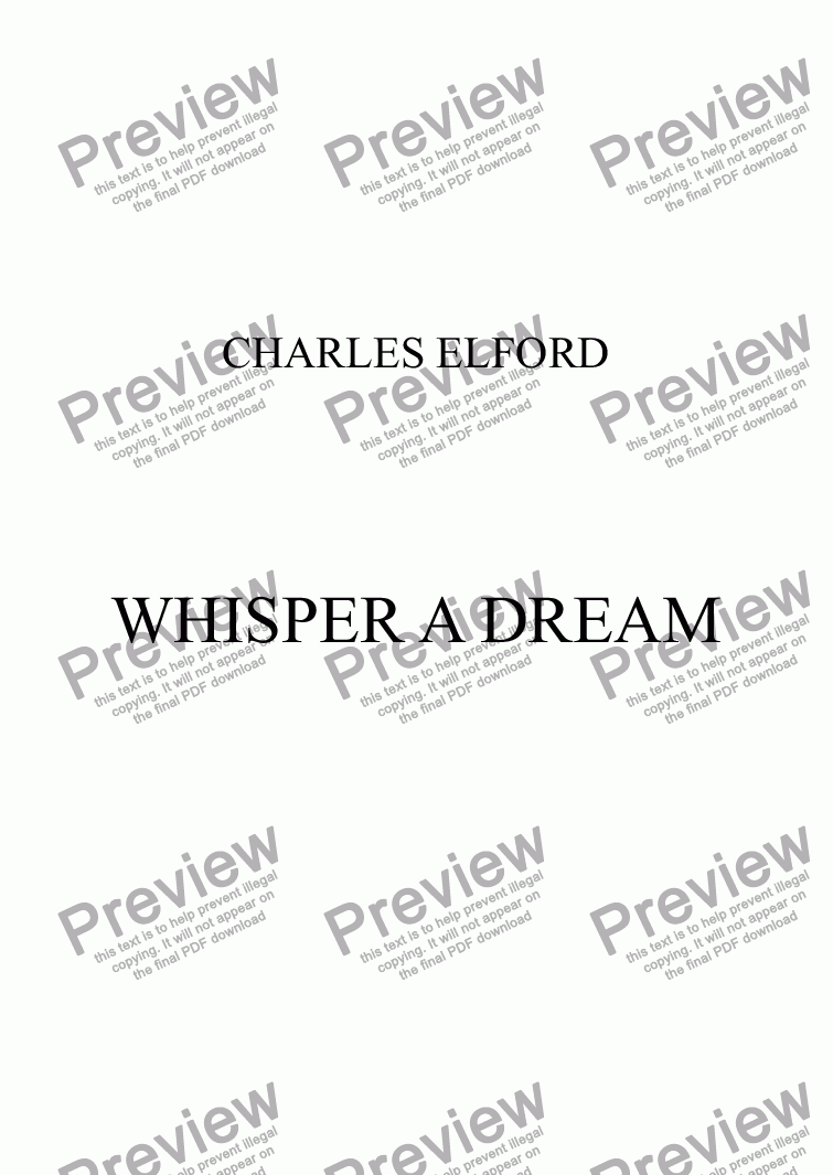 page one of WHISPER A DREAM