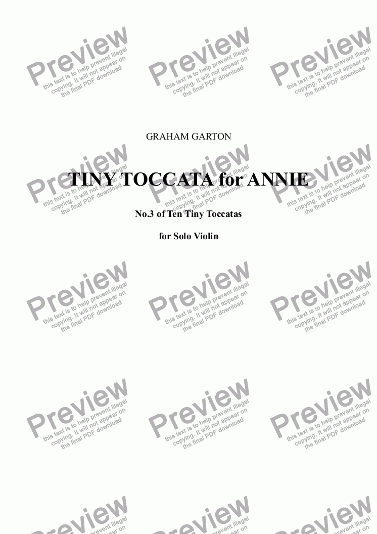 page one of VIOLIN MUSIC - TINY TOCCATA for ANNIE No.3 of Ten Tiny Toccatas (transcribed from Piano Tiny Toccata No.3 for TINA