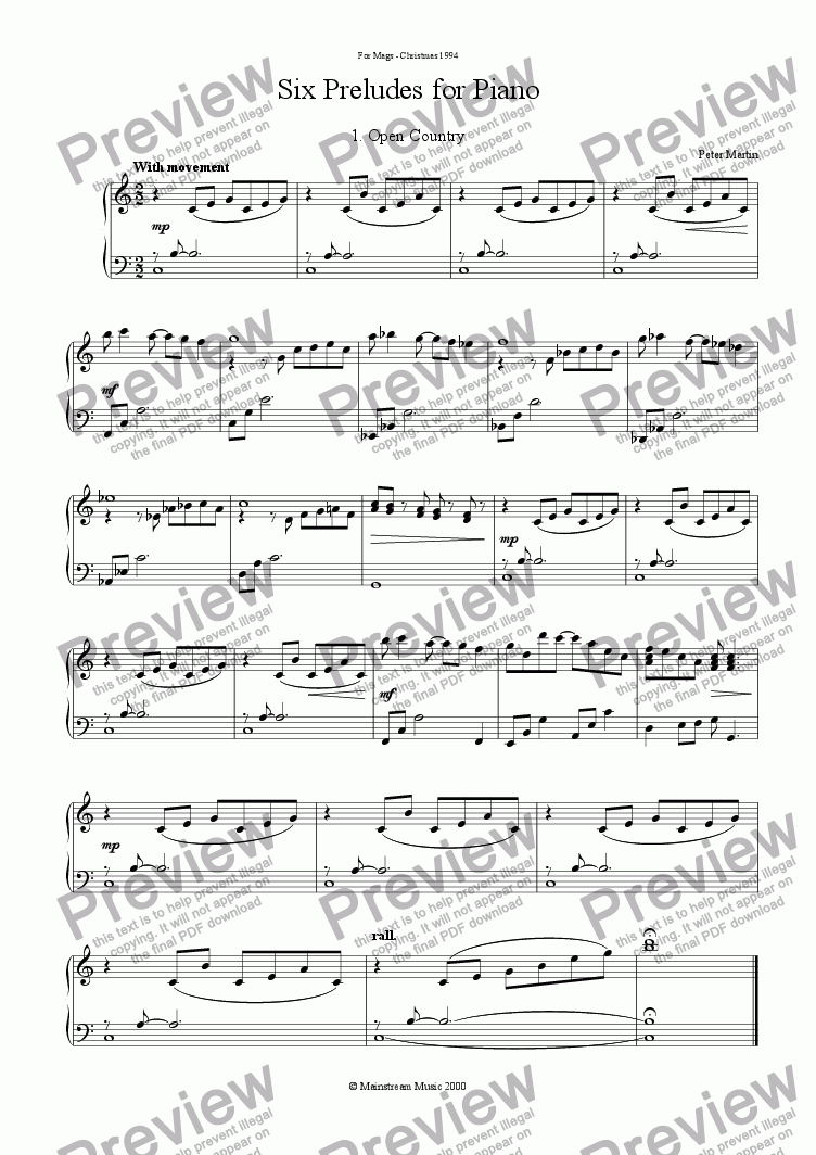 page one of Six Preludes for Piano