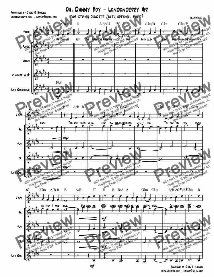 page one of Oh, Danny Boy - Londonderry Air for string Quartet (with optional Voice)