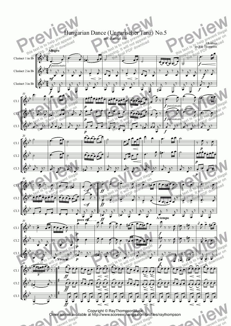 page one of Brahms: Hungarian Dance (Ungarischer Tanz) No.5 arr. clarinet trio