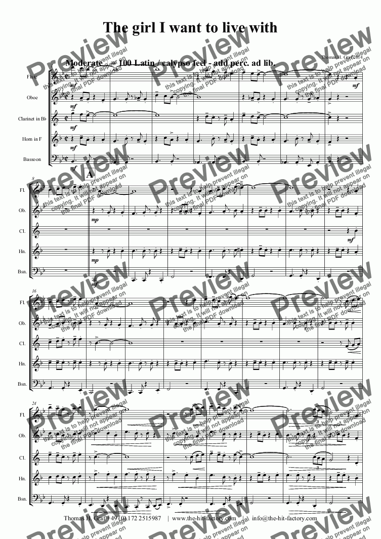 page one of The girl I want to live with - Latin - Wind Quintet