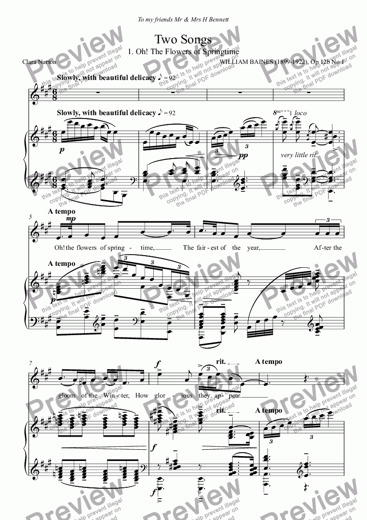 page one of William Baines: Two Songs Op 12b