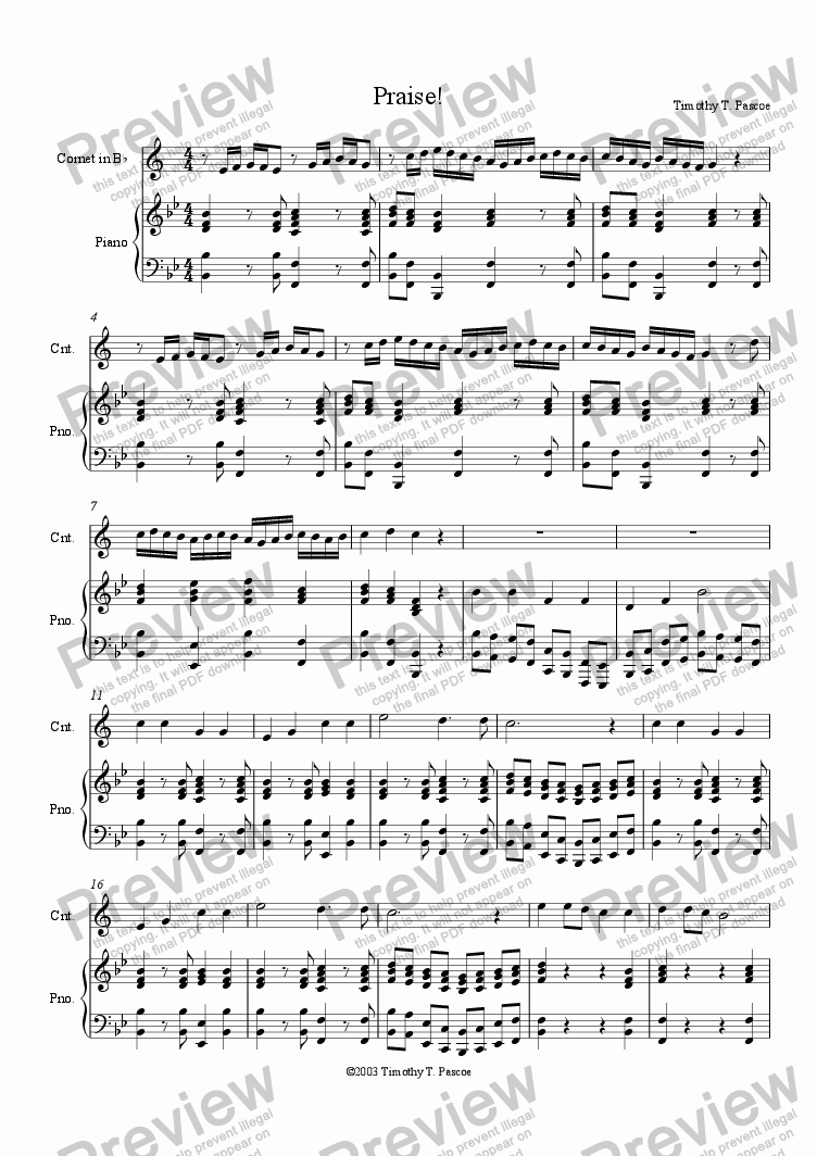 page one of Praise! (Cornet Solo)