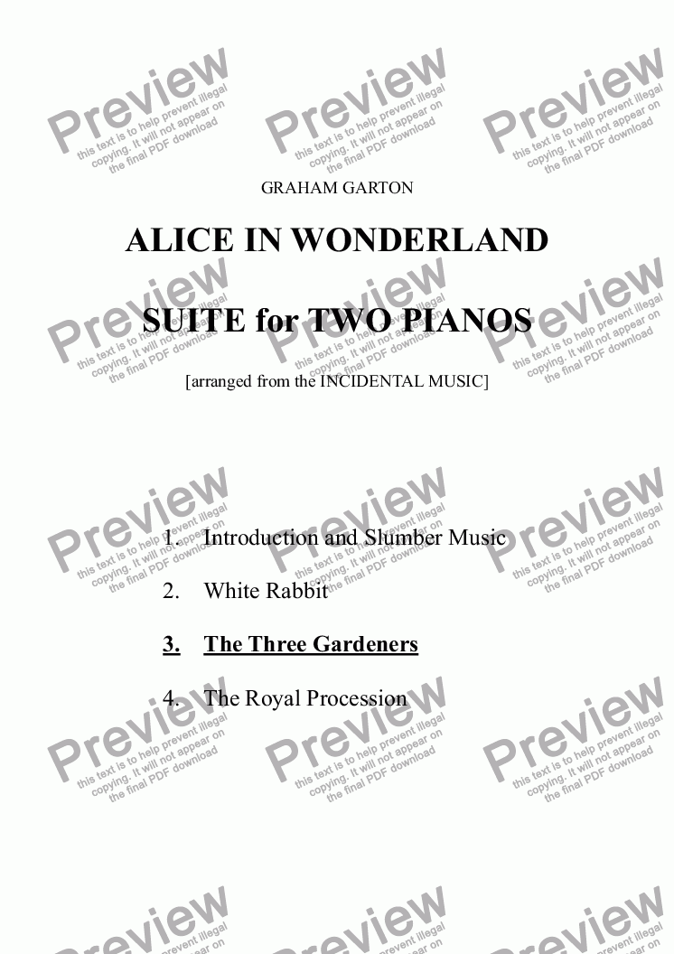 page one of PIANO MUSIC - ALICE IN WONDERLAND - SUITE (4 Mvts.) for TWO PIANOS No. 3 THE THREE GARDENERS - Fugato (arranged from the INCIDENTAL MUSIC)