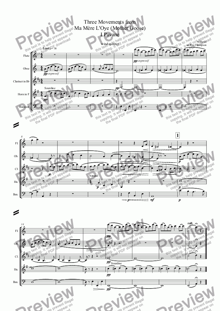 page one of Ravel: Three Movements from Ma Mère L'Oye (Mother Goose) I.Pavane II. Petite Poucet (Tom Thumb) V. Le jardin féerique (The Fairy Garden) arr.wind quintet