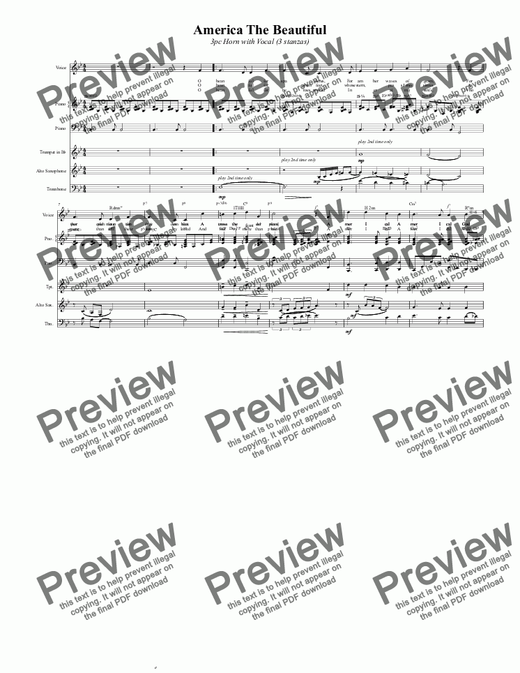 page one of America The Beautiful  3pc Horn with Vocal (3 stanzas)