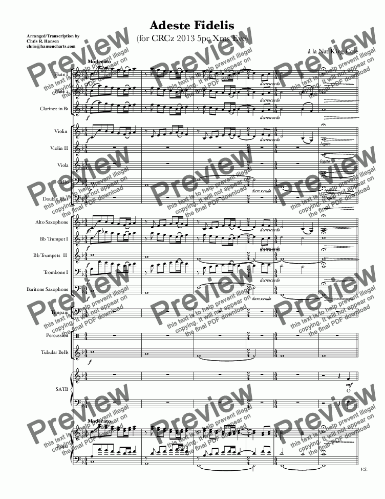 page one of Adeste Fidelis for SATB, Congregation & Small Orchestra