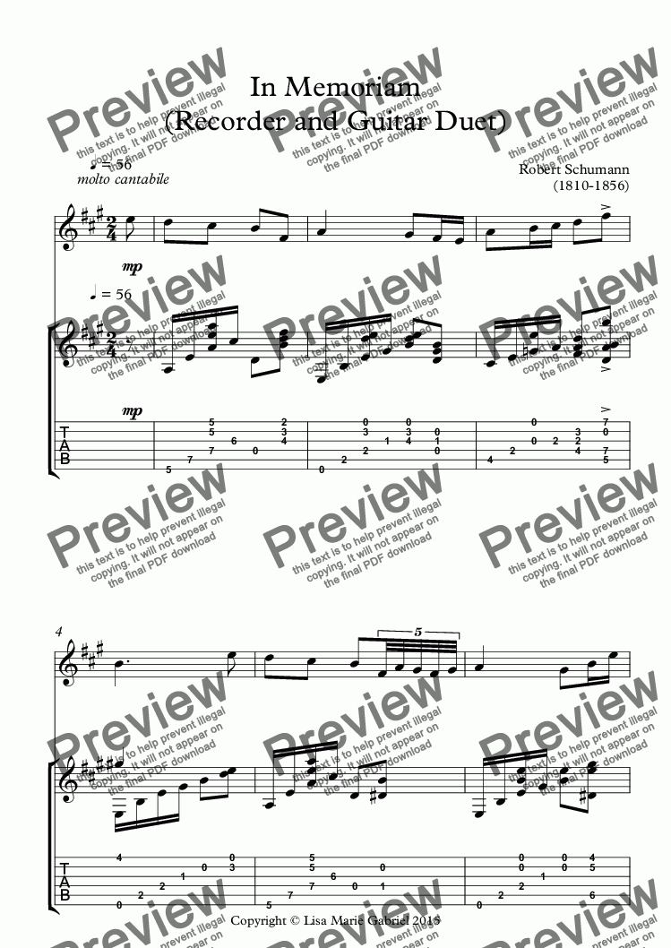 page one of In Memoriam (Recorder and Guitar Duet)