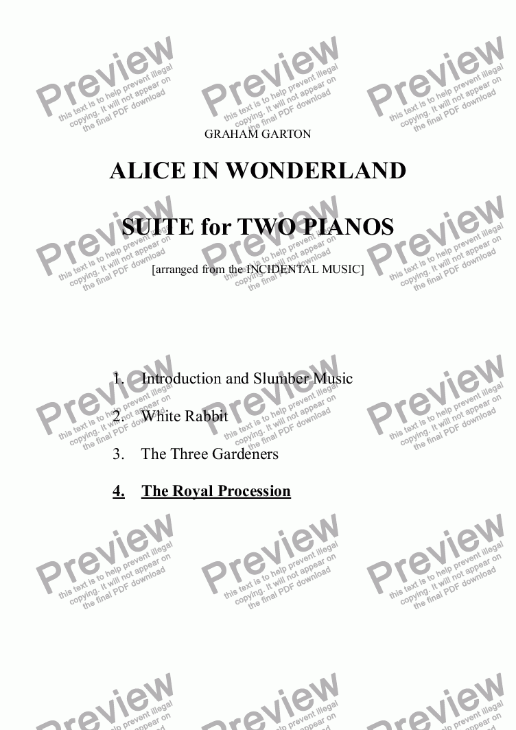page one of PIANO MUSIC - ALICE IN WONDERLAND -  SUITE for PIANOS (4 MVTS.) No.4 THE ROYAL PROCESSION (arranged from the INCIDENTAL MUSIC)