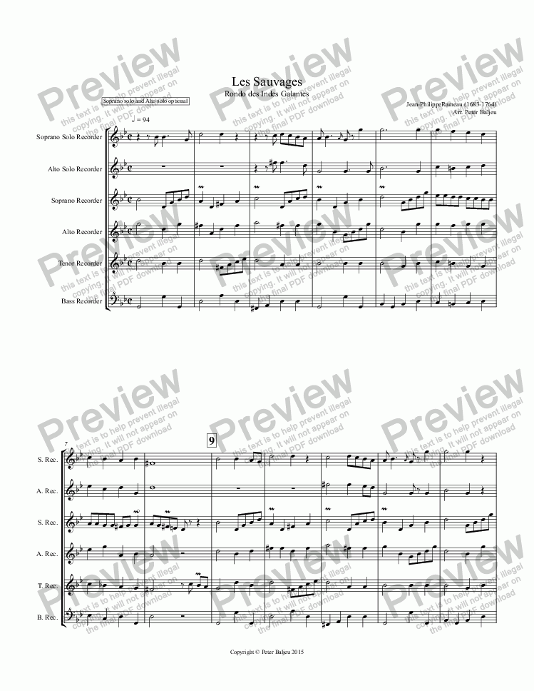 page one of Les Sauvages for Recorder Ensemble