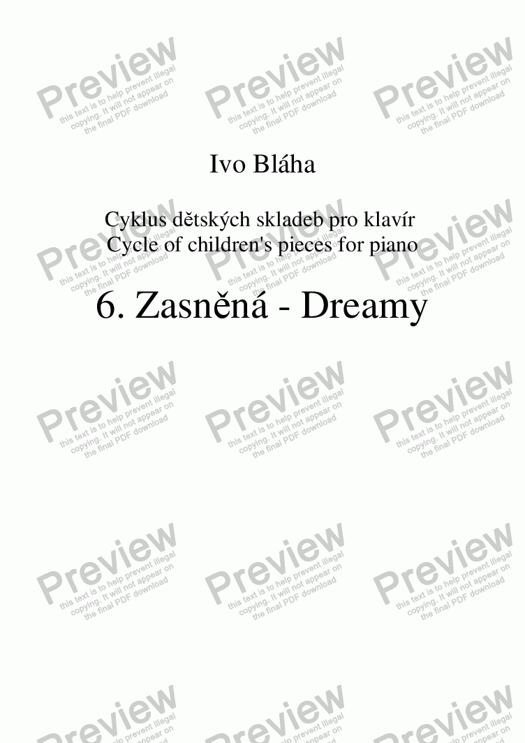 page one of DREAMY (Zasněná) - children's piece for pianoASALTTEXT