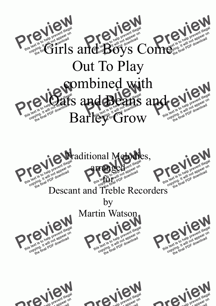 page one of Girls and Boys Come Out To Play combined with Oats and Beans and Barley Grow for Descant and Treble RecordersASALTTEXT