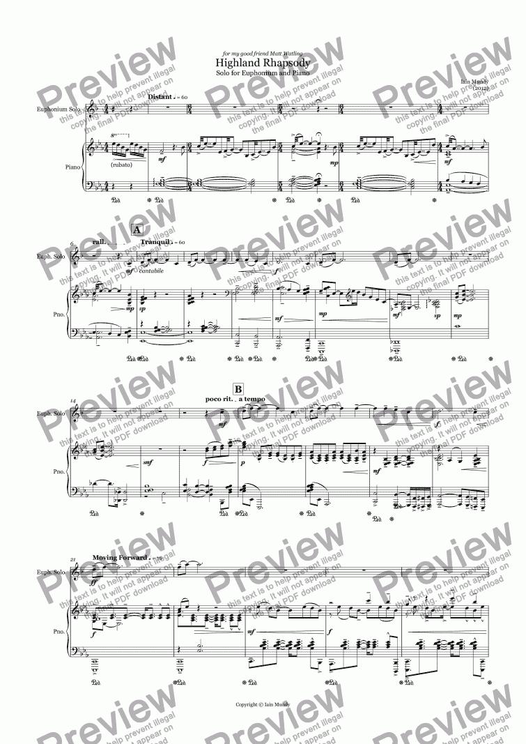 Highland Rhapsody - for Euphonium & Piano - Sheet Music PDF