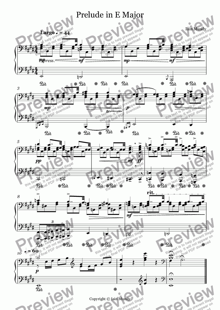page one of Prelude in E Major