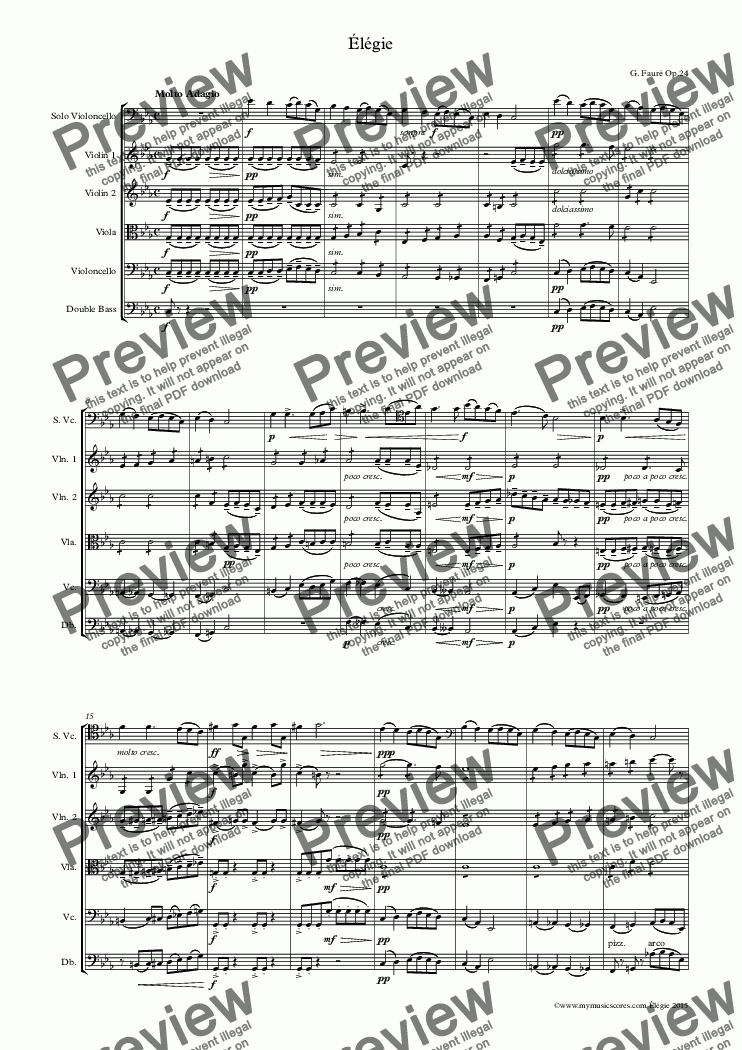 page one of Faure Élégie for Cello and String Orchestra