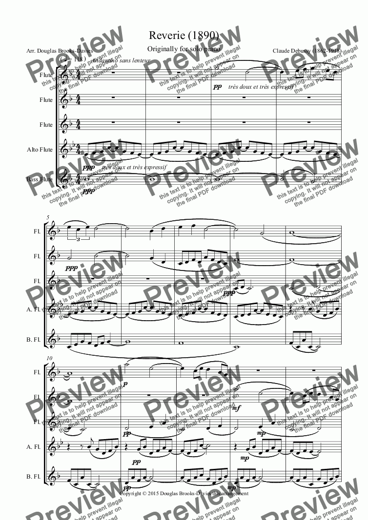 page one of DEBUSSY, Claude: Reverie (1890) arranged for Flute Choir (3fl, afl, bfl)