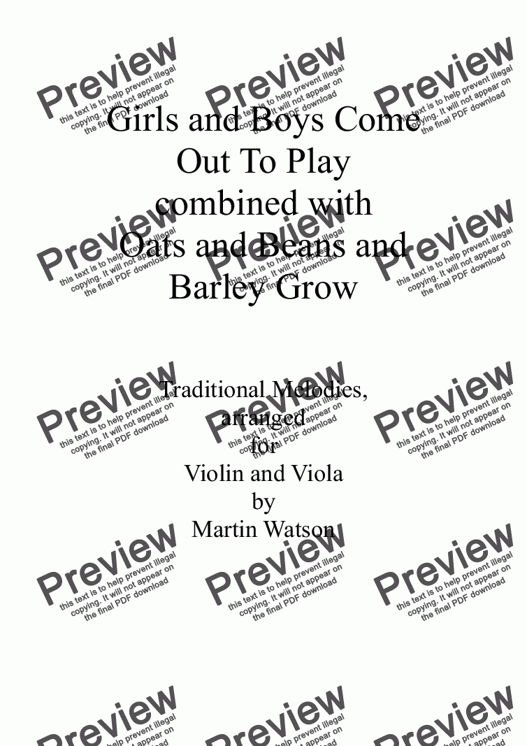 page one of Girls and Boys Come Out To Play combined with Oats and Beans and Barley Grow for Violin and Viola