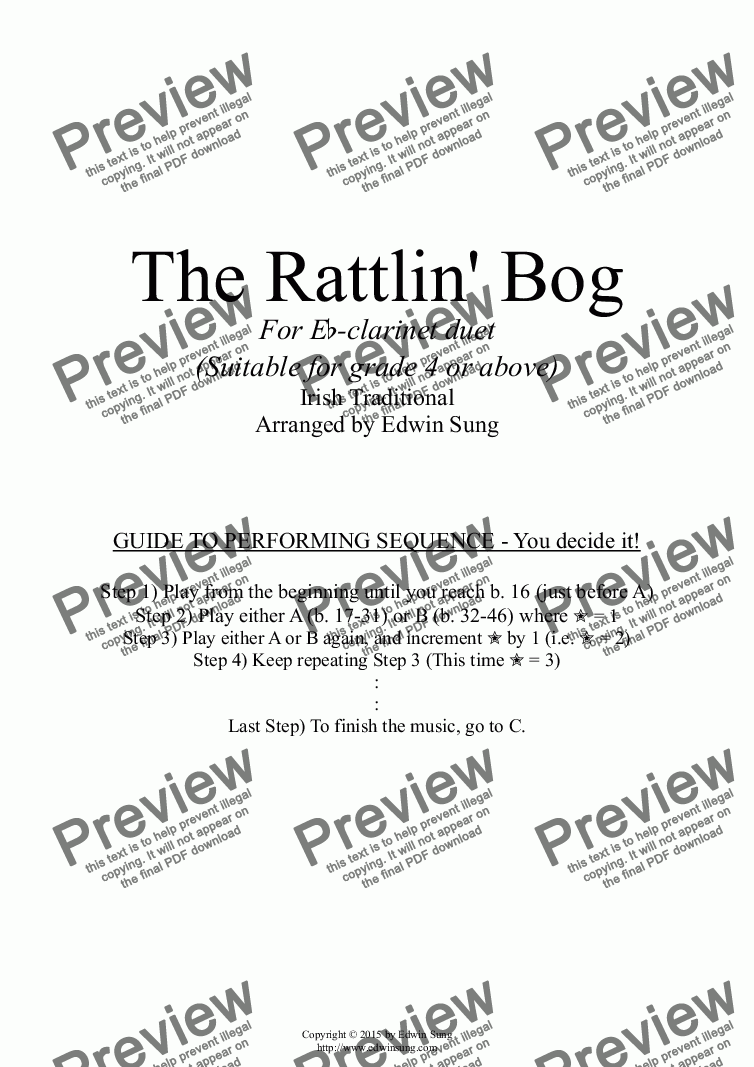page one of The Rattlin' Bog (for Eb-clarinet duet, suitable for grade 4 or above) (152ECDU03)ASALTTEXT
