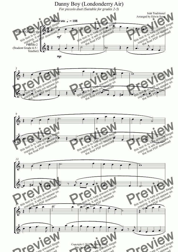 page one of Danny Boy (Londonderry Air) (for piccolo duet, suitable for grades 2-5) (152PCDU03)ASALTTEXT