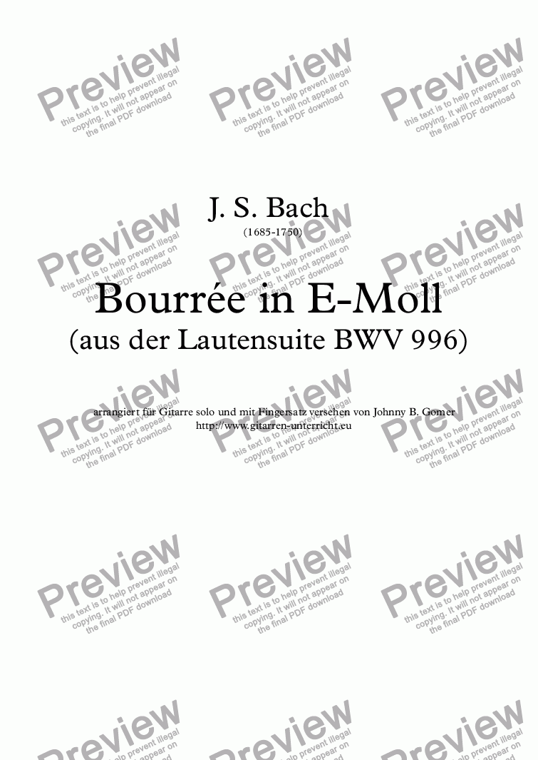 page one of Bourrée in E-MollASALTTEXT