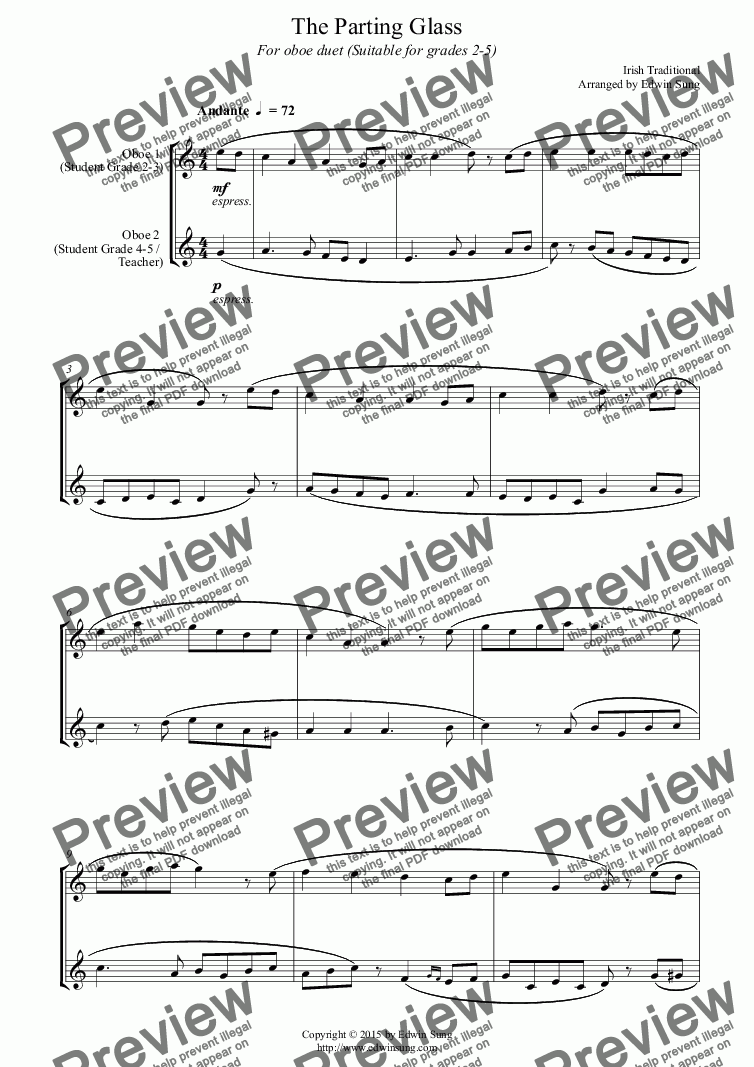 page one of The Parting Glass (for oboe duet, suitable for grades 2-5) (152OBDU04)