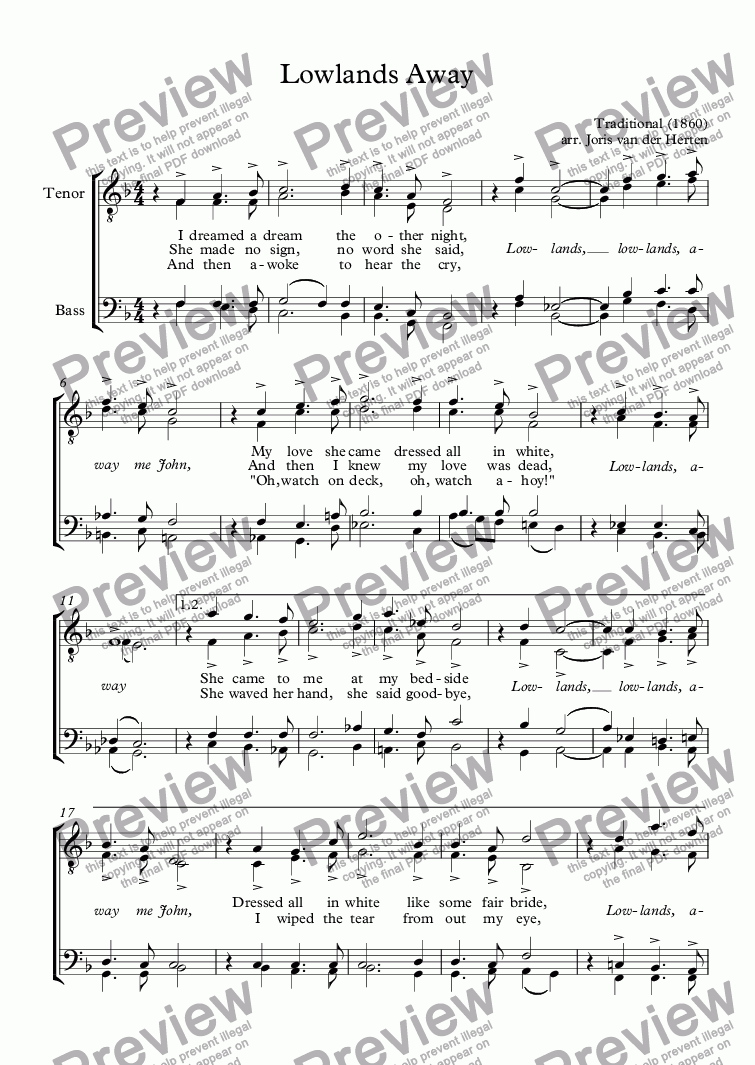 page one of Lowlands Away [sea shanty] (choir TTBB)ASALTTEXT