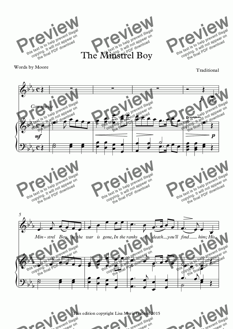 page one of The Minstrel Boy