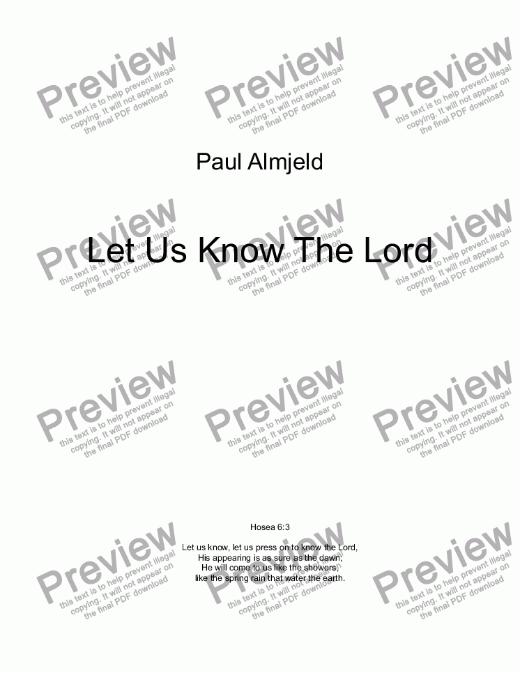page one of Let Us Know The Lord