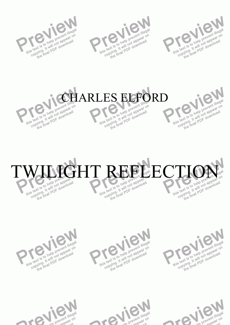 page one of TWILIGHT REFLECTION