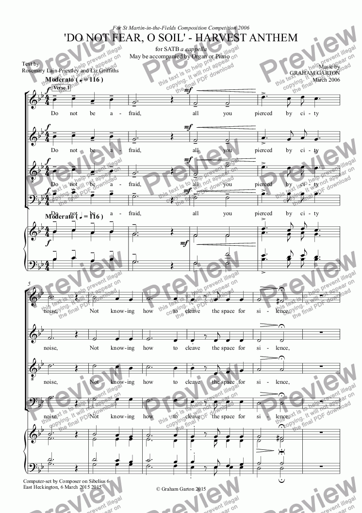 page one of ANTHEM for HARVEST - 'DO NOT FEAR, O SOIL' FOR SATB CHOIR a cappella or may be accompanied by Organ or Piano