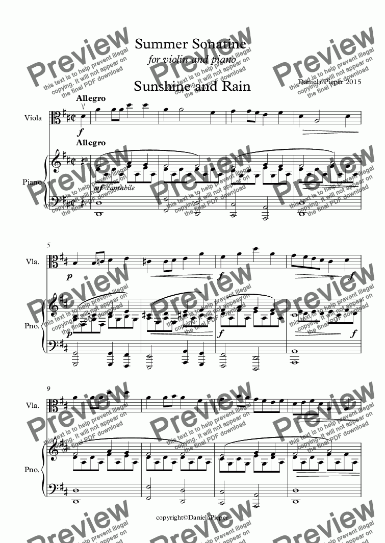 page one of Summer Sonatine 1. + 3. position for viola and piano