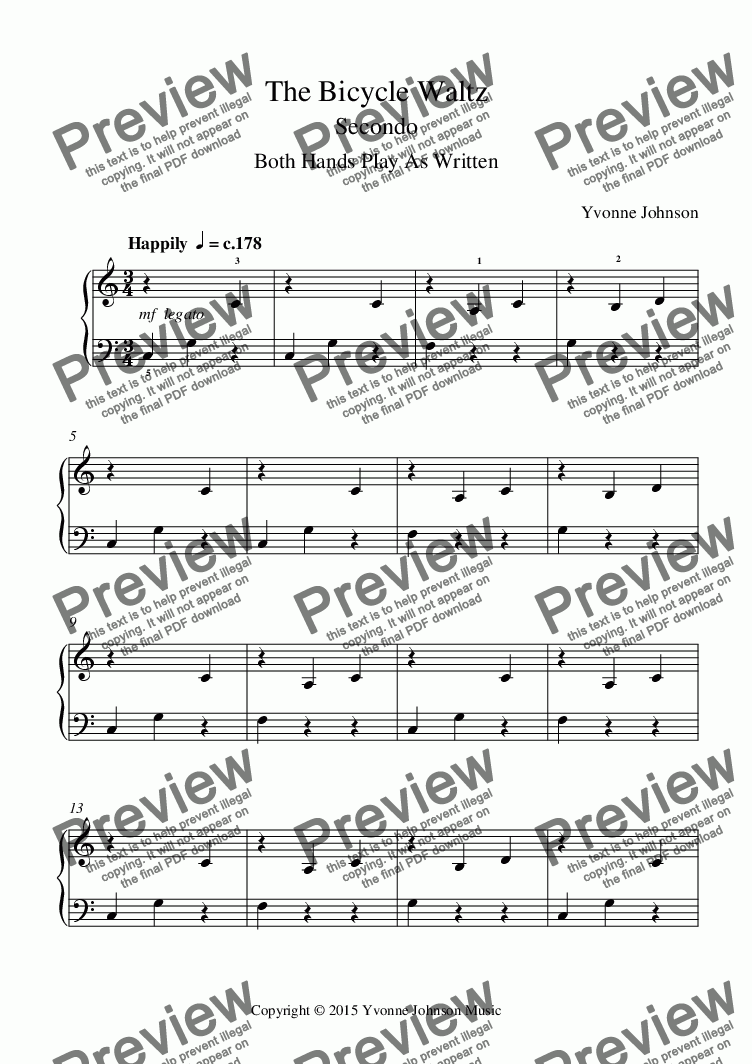 page one of The Bicycle Waltz - A Level 1 Piano Duet