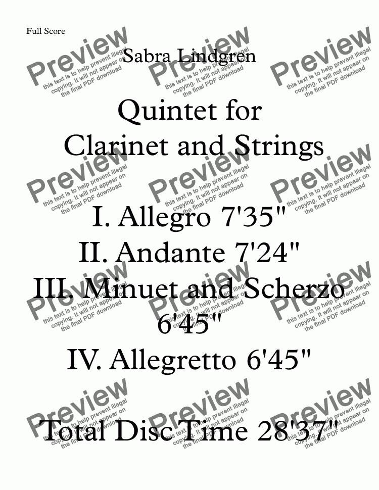 page one of Quintet for Clarinet and Strings II. Andante