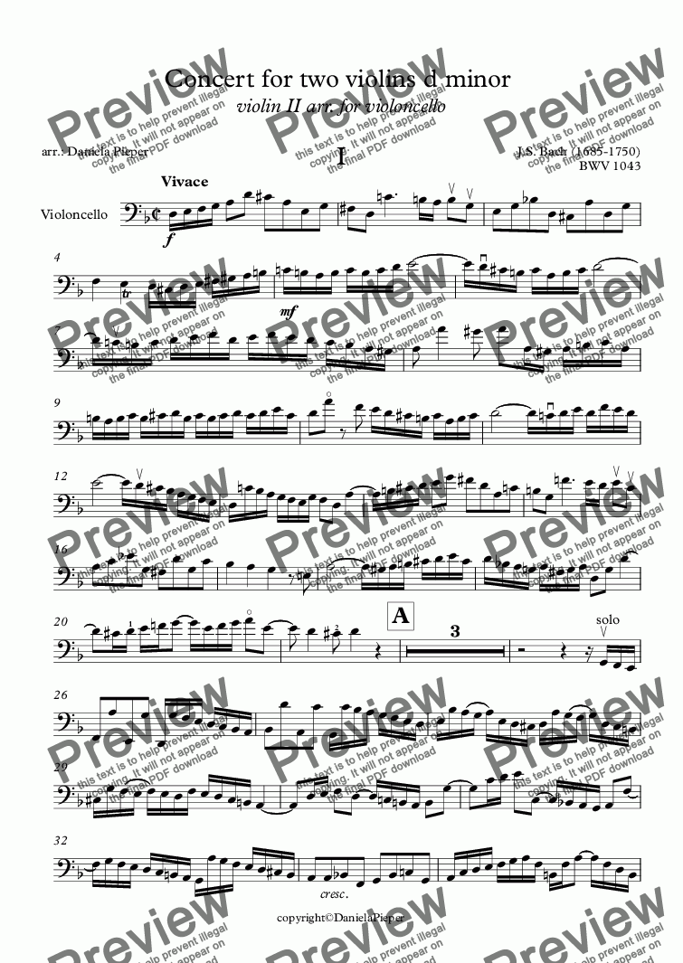 page one of Bach Concert for two violins d minor  violin II arr. for violoncello