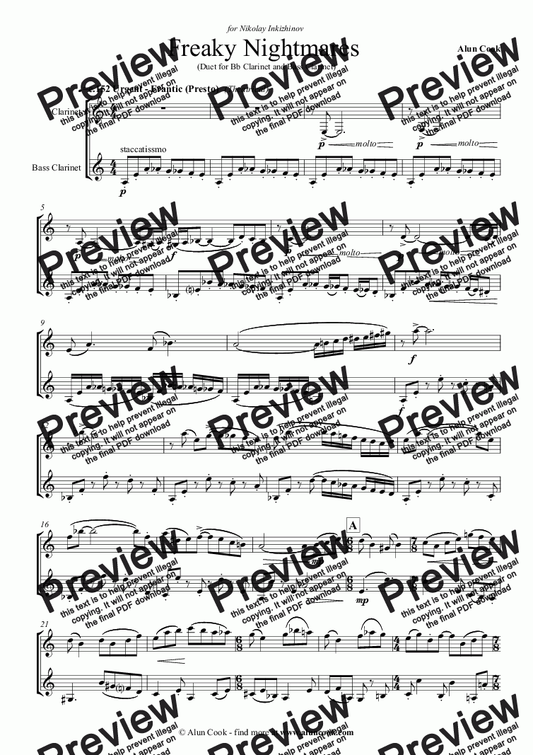 page one of Freaky Nightmares (Duet for Clarinet and Bass Clarinet)