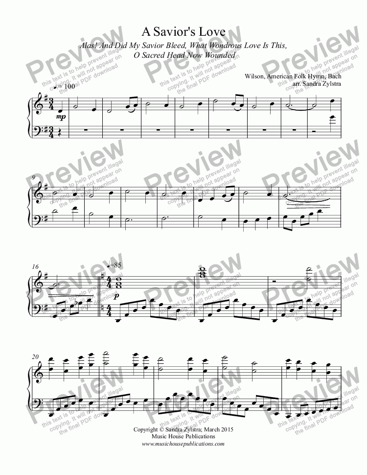 page one of A Savior's Love (piano solo)