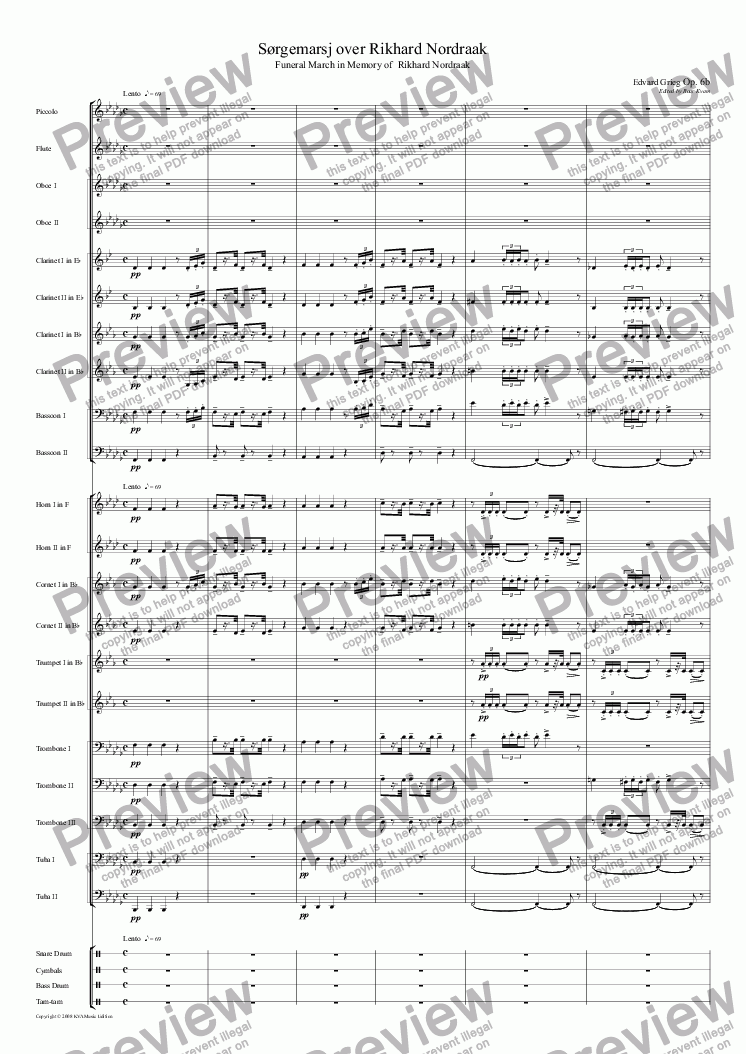 page one of Grieg: Sørgemarsj over Rikhard Nordraak | Funeral March for Rikhard Nordraak (Grieg's original version for Wind Band)
