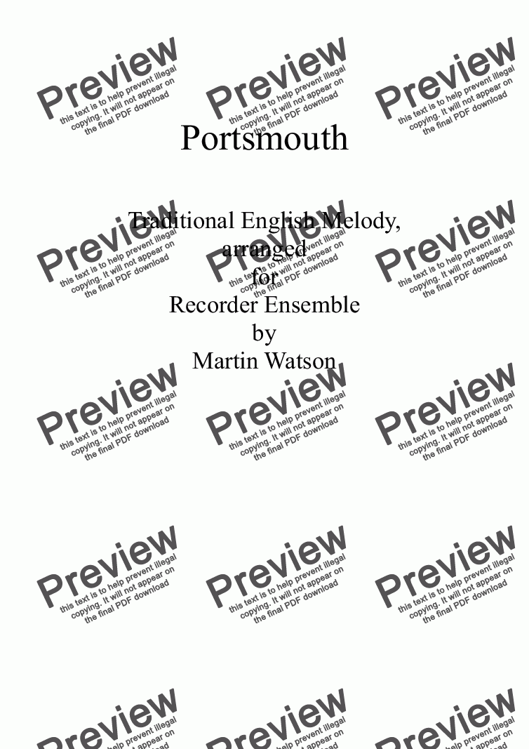 page one of Portsmouth for Recorder Ensemble