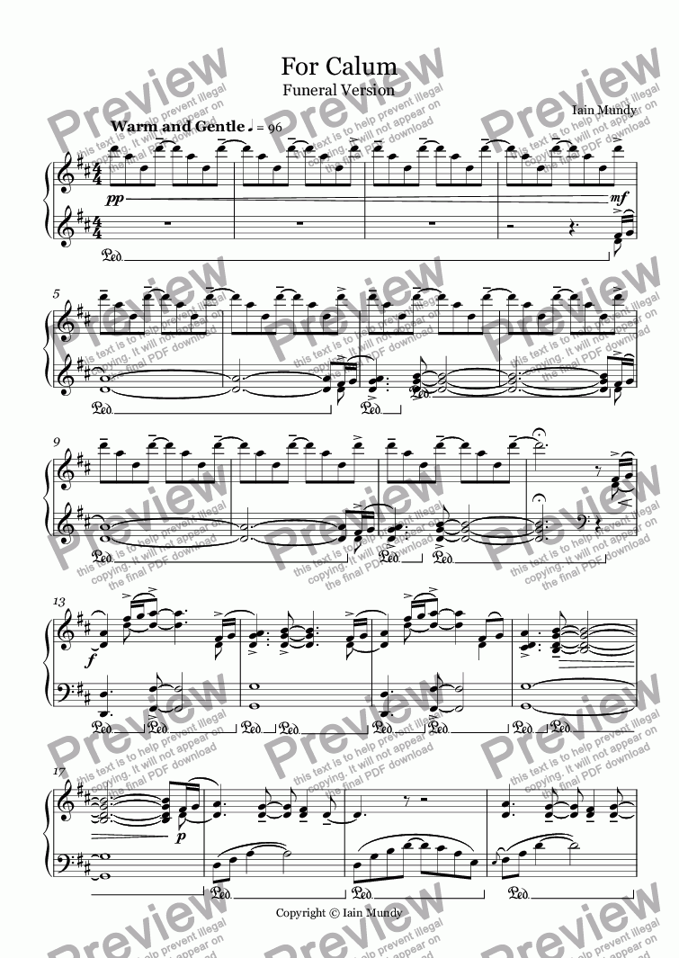 page one of For Calum - Funeral Version for Piano