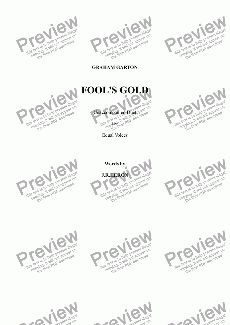 page one of VOCAL DUET (Low Key) - 'FOOL'S GOLD' - Unacompanied Duet for Contralto and Bass Voices - Words: J. R. Heron