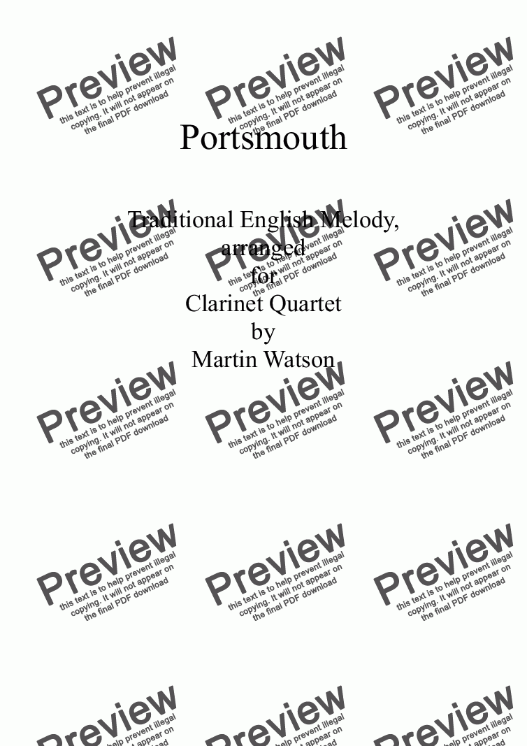 page one of Portsmouth for Clarinet Quartet
