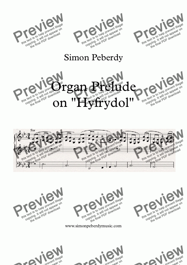Organ Chorale Prelude on Hyfrydol (Alleluia, Sing to Jesus) for Solo  instrument (Organ [manuals with pedals]) by Simon Peberdy - Sheet Music PDF  file