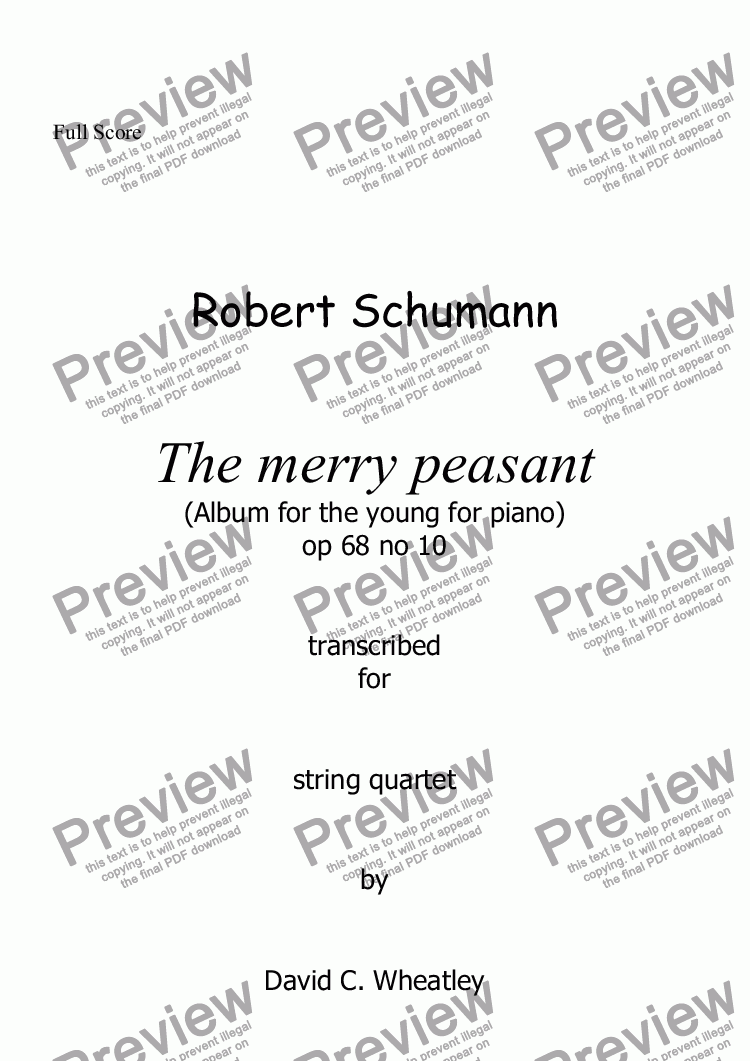 page one of Schumann Album for the young op 68 no 10 'The Merry Peasant' for string quartet