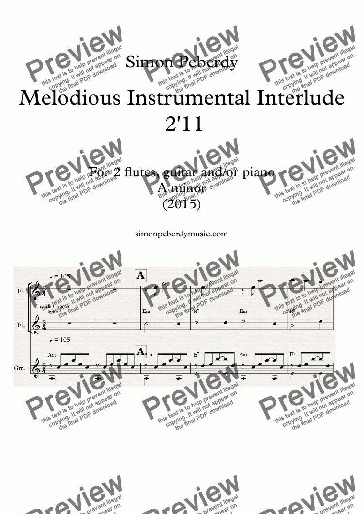 page one of Instrumental Interlude 2'11 for 2 flutes, guitar and/or piano (2015)