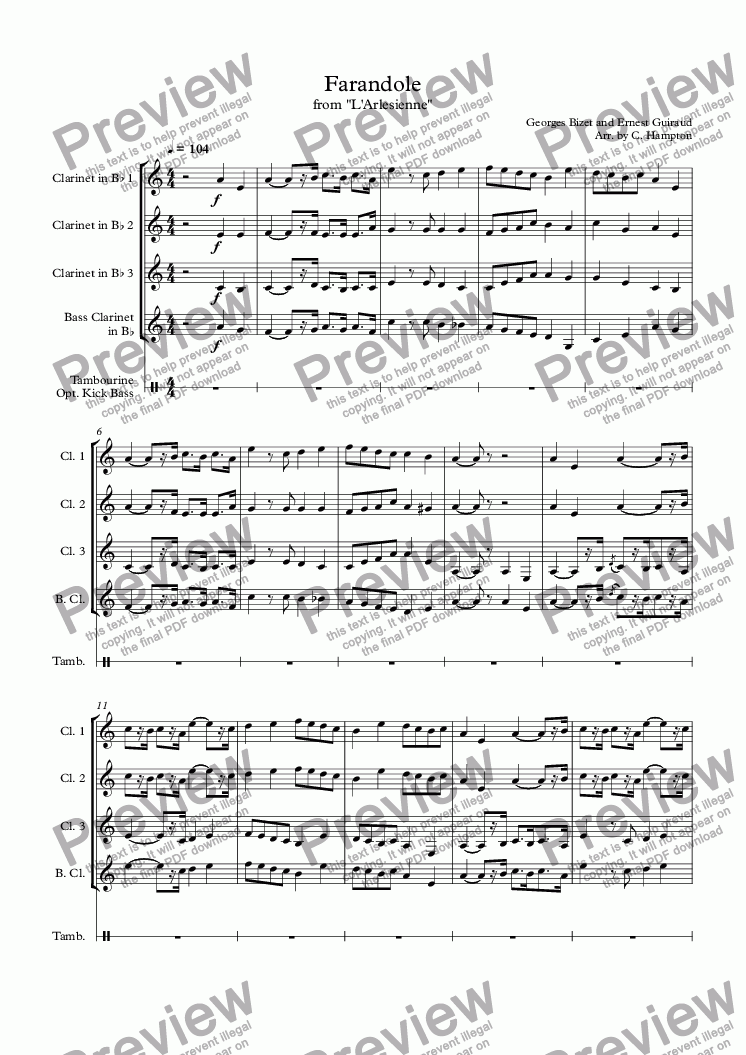 "page one of Farandole from ""L'Arlesienne"" for clarinet quartet"
